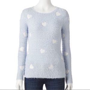LC Lauren Conrad Eyelash Sweater w/Hearts XS